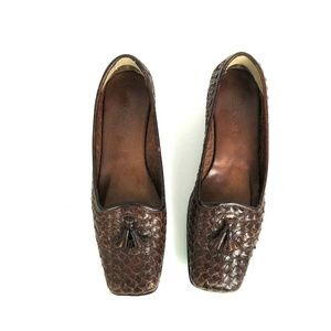Sesto Meucci 7.5N Brown Leather Loafers Tassels